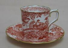 "Royal Crown Derby ""Red Aves"" COFFEE CAN & SAUCER"