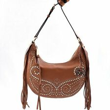 MICHAEL KORS RHEA  LUGGAGE BROWN LEATHER,GOLD STUDS,FRINGES,SLOUCHY,CROSSBODY