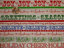 Christmas Words Joy Believe Heidi Grace Cotton Quilting Fabric Bty by the yard