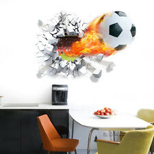 3D Football Soccer Crack Wall Art Sticker Decal Vinyl Graphic Boys Bedroom