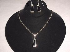 Vintage Black Onyx 925 Sterling Silver Necklace Earring Set