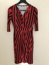New listing Ladies size 12 wrap-style dress with black & red stripes, sleeves and V-neck