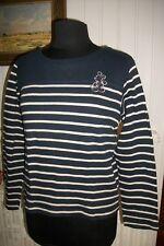 Pull coton marinère rayé bleu marine beige brodé DISNEY MICKEY 42/44 COL BATEAU