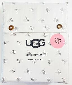 NEW UGG Summer Cooling Superior Soft Feel Cal King Sheet Set Beige Geometric