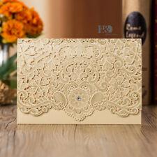 50pcs Classic Gold Laser Cut Wedding Favour Invitations Cards Envelope Printing