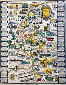 Map of the Niagara Frontier New York Ontario Falls Cabin Decor Art Vintage 1931