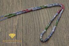 Mix Saphir , Smaragd , Rubin Strang - ca. 2,5 - 4 mm - ca. 40 cm - SA-004 by RG