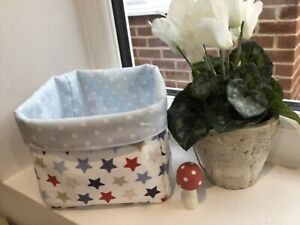 Stars and Spots fabric basket reversible and fold flat for storage