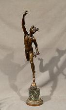 Early 20th Century Greek Mythology Hermes/Mercury Bronze Statue with Marble Base