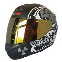 LS2 FF352 X-Ray Rookie Integrale da Moto Crash Casco con Visiera Iridium Oro