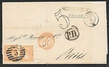 Spain covers 1867 folded letter Cadiz over Madrid to Paris