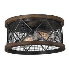 Black and Replica Wood 2 Light Flushmount Ceiling Light