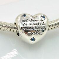 Authentic Pandora Sterling Silver Bead Disney Cinderella Heart Charm Dream Wish