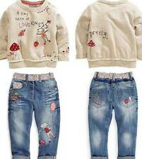 2pcs Fashion lovely Kids Baby Girls Toddler tops + Denim pants Clothes Outfits *