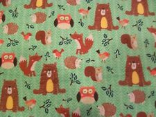 Woodland Friends Green Snuggle Cotton Flannel Fabric BTY