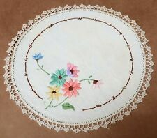 Beautiful Vintage Floral Doyley Doiley Crochet & Embroidery