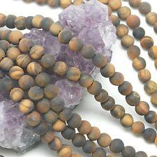 64 pcs 6mm Matte Tiger's Eye Round Loose Spacer Gemstone Beads