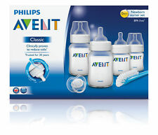 PHILIPS AVENT CLASSIC + NEWBORN STARTER SET 4 BOTTLES 1 NIPPLE BRUSH 1 PACIFIER