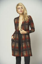 New USA Brown Fall Colors Plaid Open Front Western Duster Cardigan Pockets S,M
