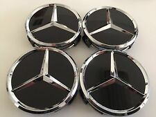 "FOR MERCEDES BENZ SET OF 4 75mm / 3"" BLACK WHEEL BADGE CENTER CAPS WC4PC502 MB1"