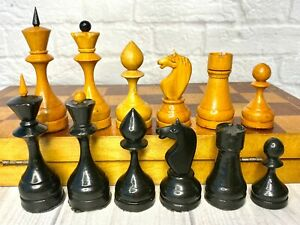 Wooden Big Chess USSR Full Set Grossmeister Vintage Soviet.King 11 cm 40X40cm
