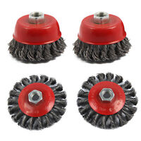 4pc Twist Knot Semi Flat Wire Wheel Cup Brush Set Kit To Fit 115mm Angle Grinder