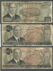 Costa Rica ✨ 1974, 1978 & 1979 ✨ 100 Colones x 3 ✨ Collections & Lots #1239