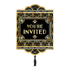 8 x Hollywood Glitz Glam Postcard Style Invitations Black & Gold Foil Finish