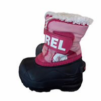 Sorel Snow Commander Boots Size 4 Toddler Girls Pink And Black  Winter Cub