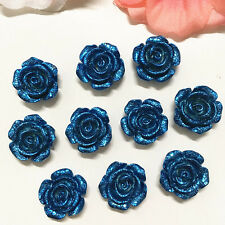 10PCS 14mm D-blue Resin Rose Flower Flatback Appliques For phone/wedding/Craft·