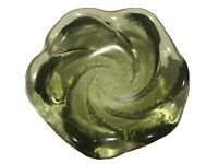 """5.5 Vintage Olive Green Fenton Swirl Molded Glass Ashtray Candy Dish"