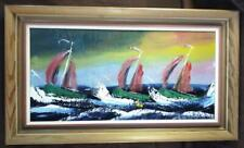 Vintage Oil Painting Expressionist Art NY Nautical MCM Boats Sailboat Art Framed
