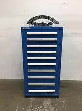 Used Blue Stanley Vidmar 10-Drawer Industrial Tool Cabinet