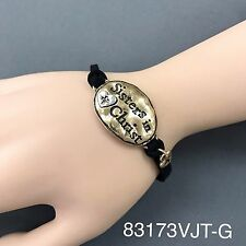 Bohemian Style Black Suede Gold Hammered Sisters in Christ Engraved Bracelet