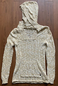 Roxy Women's Hooded Sweater Knit Cream Beachy Size Large
