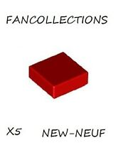 Lego - X5 Red Tile 1 x 1 with Groove , 3070b NEUF