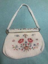 Vintage real point de beauvais Floral Petit Point beaded  Evening Bag France