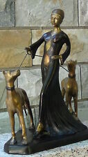 ANTIQUE 19c ART DECOBRONZE WOMAN WITH TWO DOGS STATUE