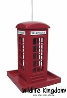Wildlife Kingdom 50880 Bird Feeder Hanging Traditional Red Telephone Box Feeding