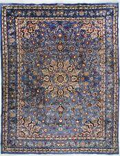 Original Perserteppich Mashad Orientteppich 394 cm x 298 cm Nr: 1559 Blau Farbe