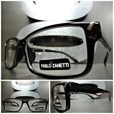 Mens Women CONTEMPORARY MODERN Style Clear Lens EYE GLASSES Black Optical Frame