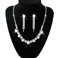 Diamond Shine Bridal Jewellery Crystal Set Drop Earrings & Necklace Choker S220