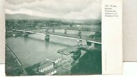 Vintage Bridges Between Pittsburgh and Allegheny River RPPC Postcard Undivided