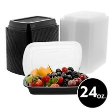 24oz Food Storage Plastic Rectangular Meal Prep Container With Lid 50 150 Pack