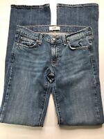 DPD Deluxe Denim Womens Flare Jeans Size 27 Medium Wash Stitch Pocket Meas 30x33