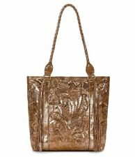 Patricia Nash Glitter Metallic Floral Embossed Rena Gold Leather Tote