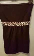 NWT White House Black Market Black Embellished Knit Strapless Top, Size S