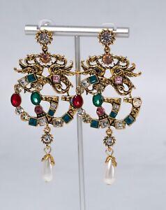 Designer Fashion Multi Crystals Chandelier Earrings