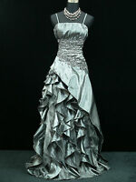 Cherlone Plus Size Satin Grey Lace Prom Ball Gown Wedding/Evening Dress UK 22-24