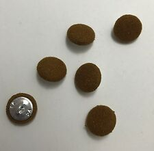 Caramel Brown SILK NOIL Fabric Buttons - Hand Made Buttons - set of 6 - 5/8""